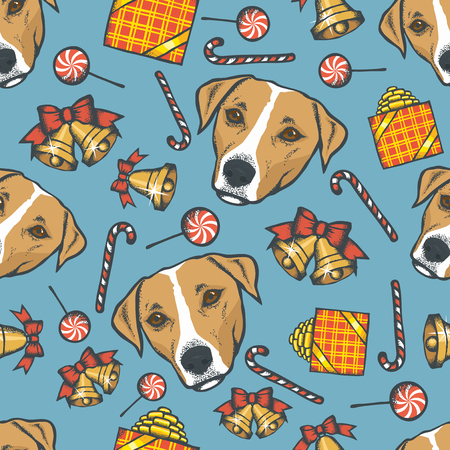 Dog Christmas vector illustration seamless pattern. Year of the dog concept. Jack Russell Terrier