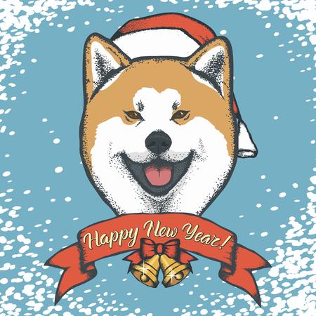 クリスマス グリーティング カード動物ヘッド デザイン。 写真素材 - 91210033