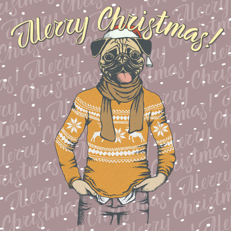 Pug dog in Santa hat and lettering Merry Christmas.