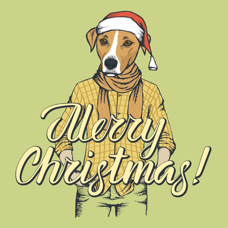 Illustration of dog in human shirt celebrating Christmas