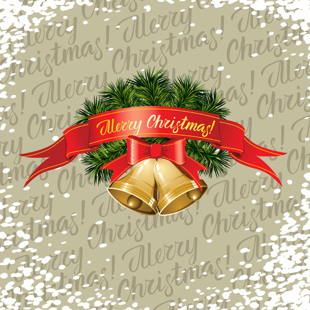 Vector Christmas and New Year elements. Lettering Merry Christmas and Bells