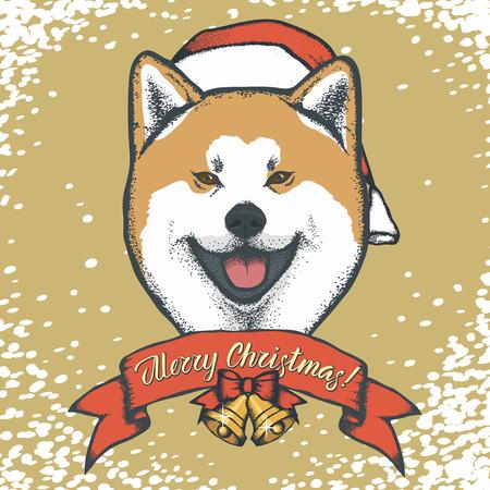 犬のクリスマスベクトルイラスト。犬のコンセプトの年。秋田イニー 写真素材 - 91593589