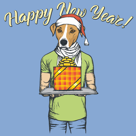 Russell Terrier Dog vector Christmas concept. Illustration of dog in human suit celebrating new year