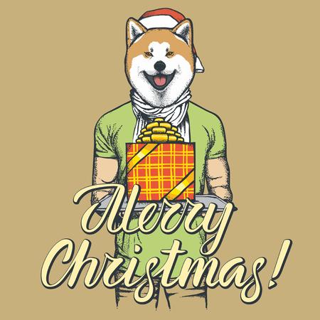 秋田犬のベクトル クリスマス コンセプト。新しい年を祝うひとのスーツに犬のイラスト 写真素材 - 91543877
