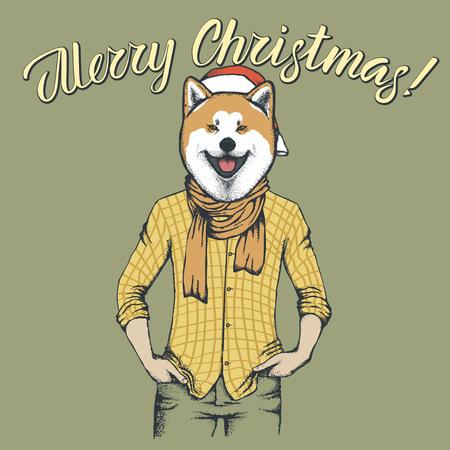 秋田犬クリスマスコンセプト 写真素材 - 91542662