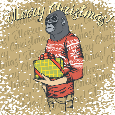 Illustration of African gorilla in human sweatshirt with lettering merry Christmas.
