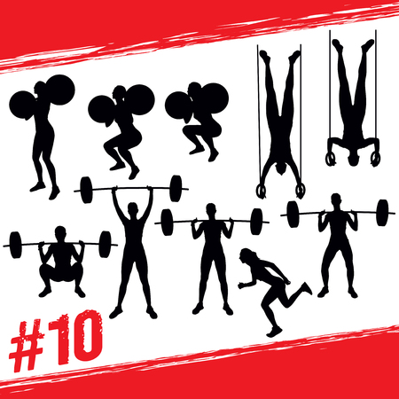 Cross fit concept. Vector silhouettes of people doing fitness and cross fit workouts in many different position. Active and healthy life concept