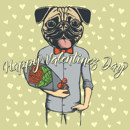 Vector valentine day concept. Illustration of dog head on human body with flowers, and lettering Happy Valantines Day