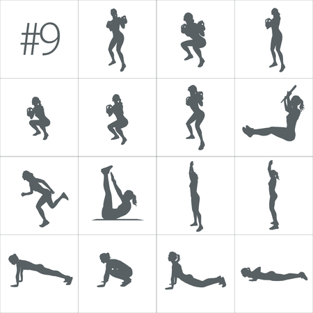 Vector silhouettes of people doing fitness and cross fit workouts in many different position. Vectores
