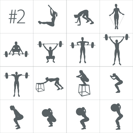 Vector silhouettes of people doing fitness and cross fit workouts in many different position. Stock Illustratie