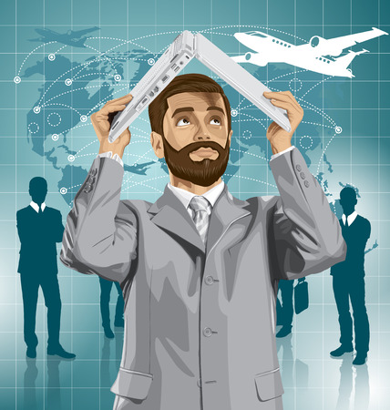 Vector of businessman with beard hides under the laptop in his hands