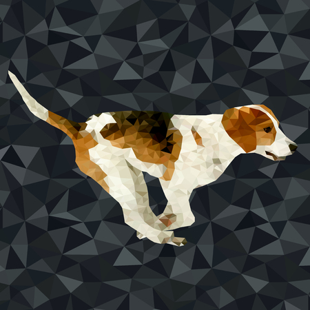 Polygonal dog silhouettes vector illustration. Set of poly dog play and have fun outdoors.