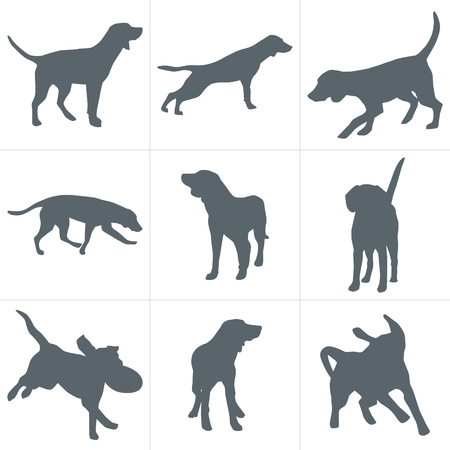 Dogs silhouettes vector illustration. Set of dog silhouettes play and have fun outdoors.