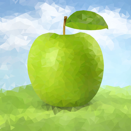 Vector green polygonal apple. Poly apple with leaf and shadow Illustration