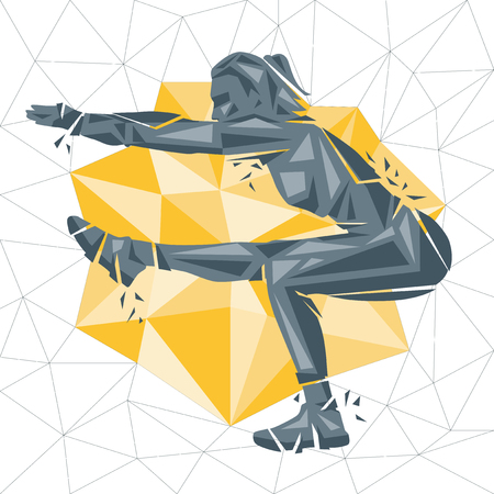 Cross fit concept Vector with silhouette of a woman exercising