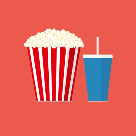 Vector popcorn illustration. Cinema concept. Popcorn with soda pop