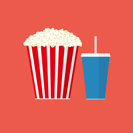 Vector popcorn illustration. Cinema concept. Popcorn with soda pop
