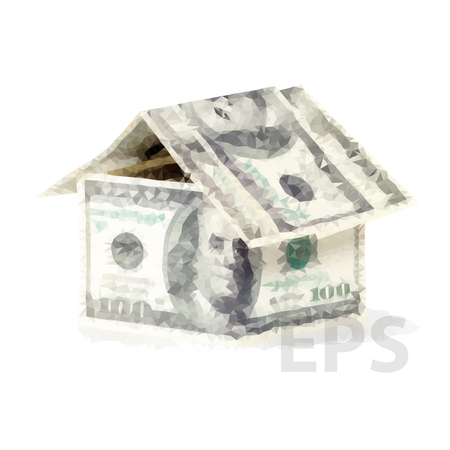 Vector dollars money in the shape of a house. Mortgage concept means hypothecation or instalments. House made of money Иллюстрация