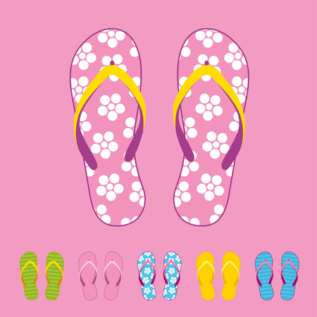 Row of colorful beach flip flops over color background. Beach sandals
