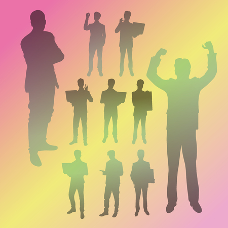 Vector silhouettes of business people in different poses. People silhouette set