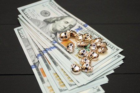 Dollars money cash on black background. Heap of money. New age of cryptocurrency concept