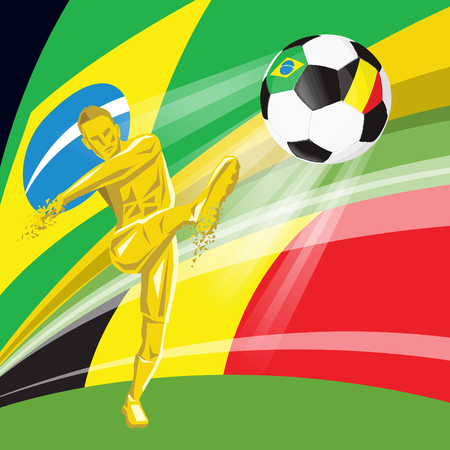 Football soccer ball with flags of countries playing in the Quarter-finals Brazil, Belgium  イラスト・ベクター素材