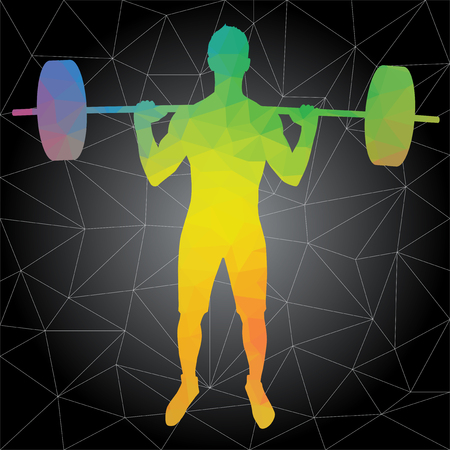 Crossfit concept. Vector silhouettes of people doing fitness and crossfit workouts in many different position. Active and healthy life concept Vector Illustration