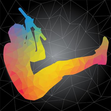 Concepto de crossfit. Siluetas vectoriales de personas que hacen ejercicios de fitness y crossfit en muchas posiciones diferentes. Concepto de vida activa y saludable