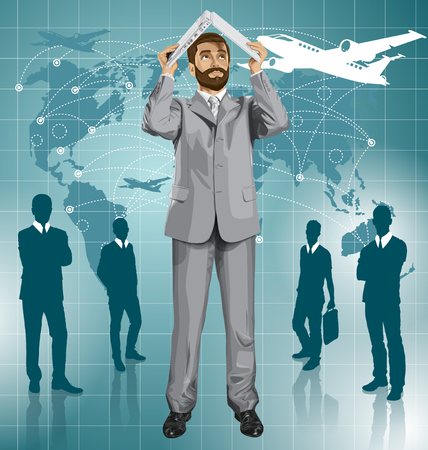 Vector business man with beard hides under the laptop in his hands Ilustração