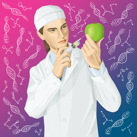 Vector scientist woman does gmo injection. Illustration of doctor does gmo modification to an apple Illustration