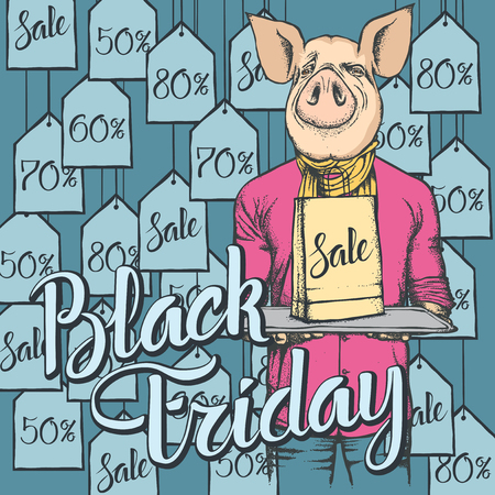 Vector illustration of pig on Black Friday. Pig with sale pack on shopping 向量圖像