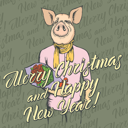 Pig Christmas and New Year vector concept. Illustration of pig in human suit celebrating. Lettering Merry Christmas and Happy New Year