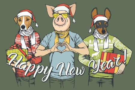 New Year vector concept Pig and two Dogs. Illustration of Dos and Pig on human body celebrating New Year. Pig with heart shape Illustration