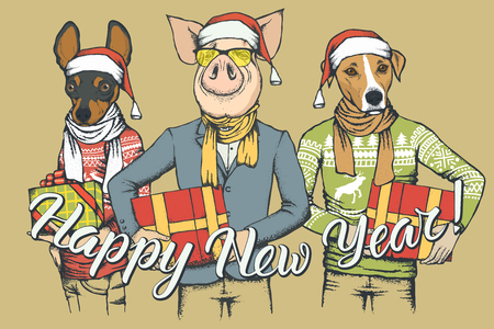 New Year vector concept Pig and two Dogs. Illustration of Dos and Pig on human body celebrating New Year Illustration