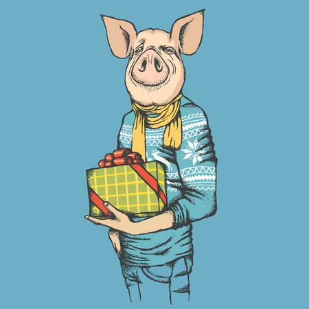 Pig Christmas and New Year vector concept. Illustration of pig in human suit celebrating