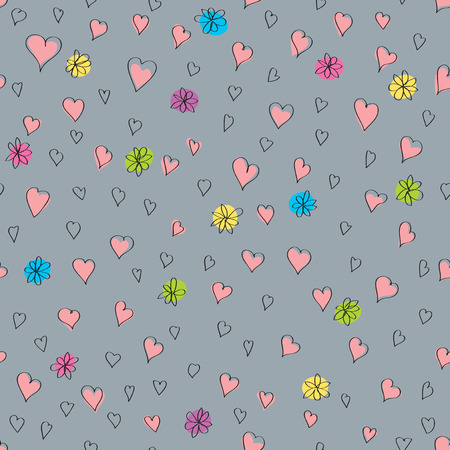 Vector Seamless Valentines Day Greeting Card. Abstract Love Illustration. Love concept background with hearts