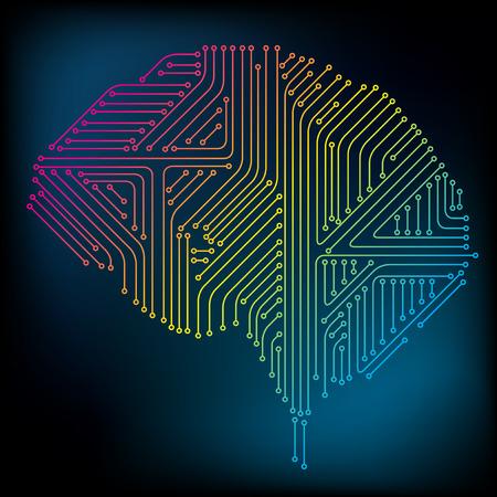 Vector Brain Concept. Neural network. Artificial Intelligence. Technology web background. Human Brain Vector Concept Stock Illustratie