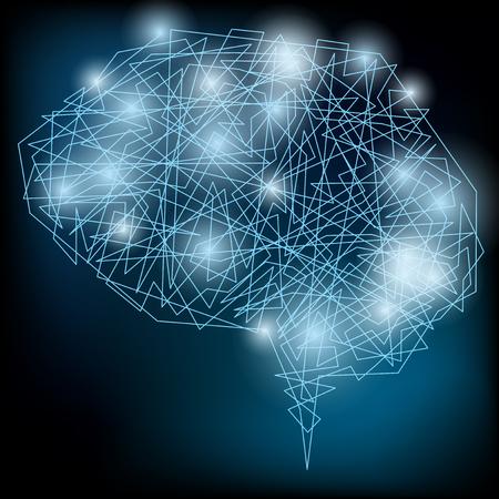 Vector Brain Concept. Neural network. Artificial Intelligence. Technology web background. Human Brain Vector Concept 矢量图片