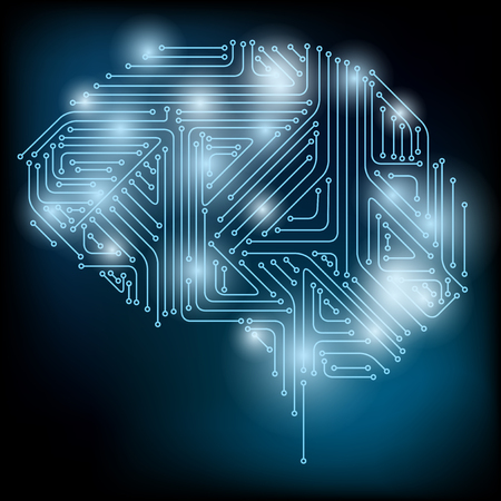 Vector Brain Concept. Neural network. Artificial Intelligence. Technology web background. Human Brain Vector Concept Illustration