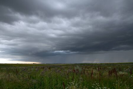 Beautiful storm sky with clouds and field, apocalypse, tunder, tornado