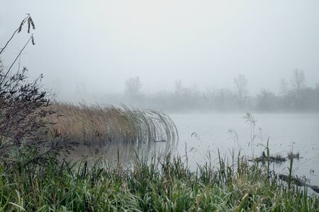 Beautiful autumn landscape, the lake in the morning fog. Scenic view of foggy landscape with river