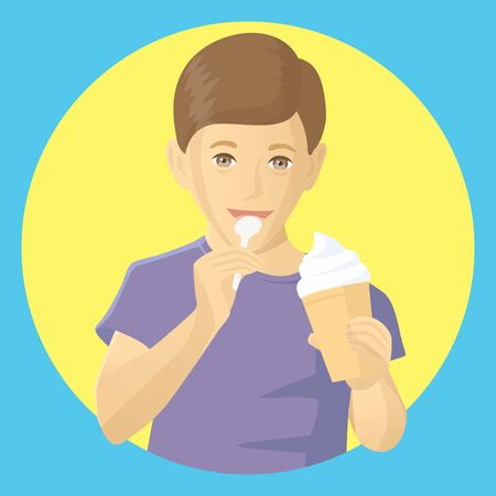 Vector funny child boy eating ice-cream. Little cute boy with ice cream isolated