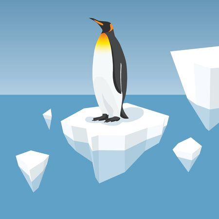 Vector Flat Isometric Global Warming Illustration. Melting Iceberg And Penguin. Effect Of Global Warming In Nature. Conceptual Image Of Melting Glacier With King Penguin In Deep Blue Water Illustration