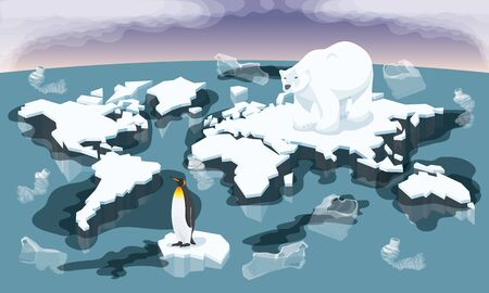 Vector Environment Pollution And Global Warming Illustration. Conceptual Image Of Melting World Shaped Glacier In Deep Blue Water With Animals Bear And Penguin. Melting Ice Map Of World With Garbage