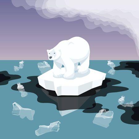 Illustration vectorielle de la pollution de l'environnement plat isométrique et du réchauffement climatique. Iceberg de fonte et ours blanc avec des ordures en plastique dans l'eau. Image conceptuelle de la fonte des glaciers avec l'ours et les ordures Vecteurs
