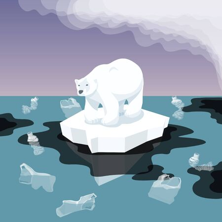 Vector Flat Isometric Environment Pollution And Global Warming Illustration. Melting Iceberg And White Bear With Plastic Garbage In The Water. Conceptual Image Of Melting Glacier With Bear And Garbage Illustration