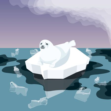 Vector Flat Isometric Environment Pollution And Global Warming Illustration. Melting Iceberg And And Fur Seal With Plastic Garbage, Oil In The Water. Conceptual Image Of Melting Glacier Ilustração