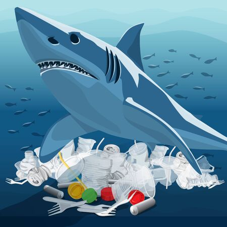 Vector Environment Pollution Illustration Of White Shark. Conceptual Image Of Ocean With Plastic Garbage And White Shark 일러스트