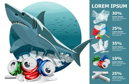 Vector Environment Pollution Illustration Of White Shark Info Chart Or Infographics. Conceptual Image Of Ocean With Plastic Garbage And White Shark