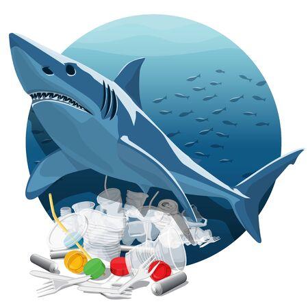 Vector Environment Pollution Illustration Of White Shark. Ocean pollution. Ocean With Plastic Garbage And White Shark Ilustração